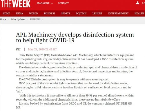 APL Machinery develops disinfection system to help fight COVID-19 – theweek.in